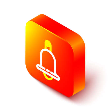 Isometric line Ringing bell icon isolated on white background. Alarm symbol, service bell, handbell sign, notification symbol. Orange square button. Vector Illustration 일러스트