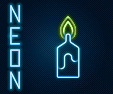 Glowing neon line Burning candle icon isolated on black background. Cylindrical candle stick with burning flame. Colorful outline concept. Vector Illustration