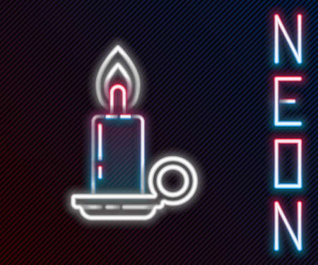 Glowing neon line Burning candle in candlestick icon isolated on black background. Cylindrical candle stick with burning flame. Colorful outline concept. Vector Illustration
