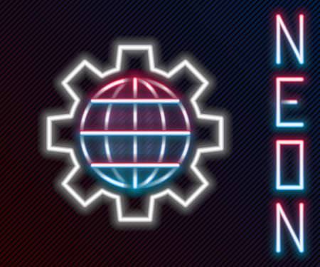 Glowing neon line Globe of the Earth and gear or cog icon isolated on black background. Setting parameters. Global Options. Colorful outline concept. Vector Illustration Stock Illustratie