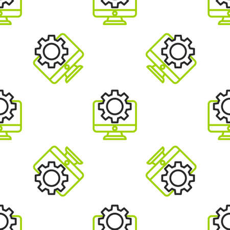 Line Computer monitor and gear icon isolated seamless pattern on white background. Adjusting, service, setting, maintenance, repair, fixing. Vector Illustration
