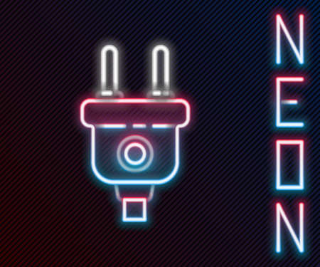 Glowing neon line Electric plug icon isolated on black background. Concept of connection and disconnection of the electricity. Colorful outline concept. Vector Illustration 矢量图像