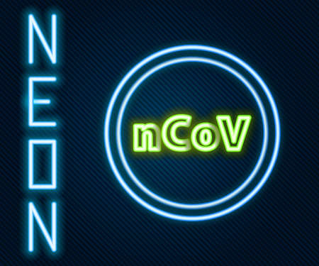 Glowing neon line Corona virus 2019-nCoV icon isolated on black background. Bacteria and germs, cell cancer, microbe, fungi. Colorful outline concept. Vector Illustration