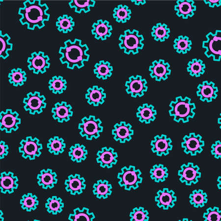 Line Gear and arrows as workflow concept icon isolated seamless pattern on black background. Gear reload sign. Vector Illustration