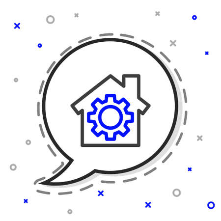 Line House or home with gear icon isolated on white background. Adjusting, service, setting, maintenance, repair, fixing. Colorful outline concept. Vector Illustration