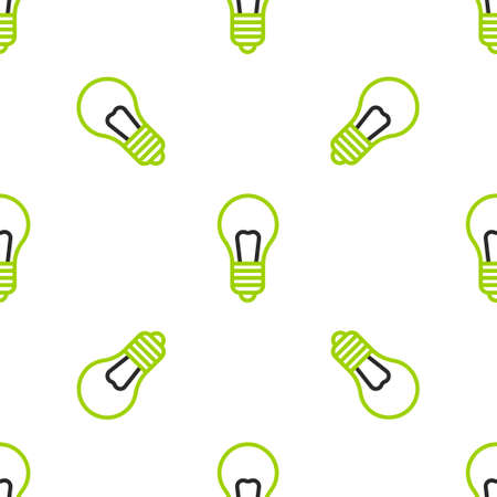 Line Light bulb with concept of idea icon isolated seamless pattern on white background. Energy and idea symbol. Inspiration concept. Vector Illustration