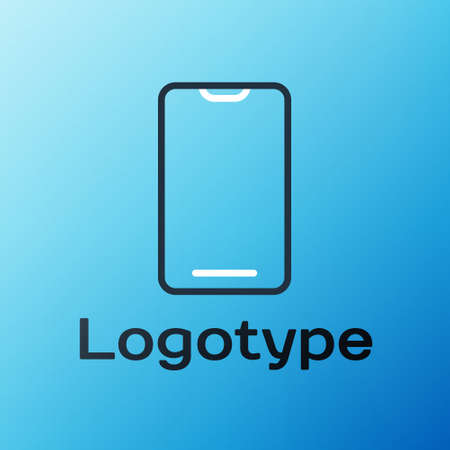 Line Smartphone, mobile phone icon isolated on blue background. Colorful outline concept. Vector Illustration 矢量图像