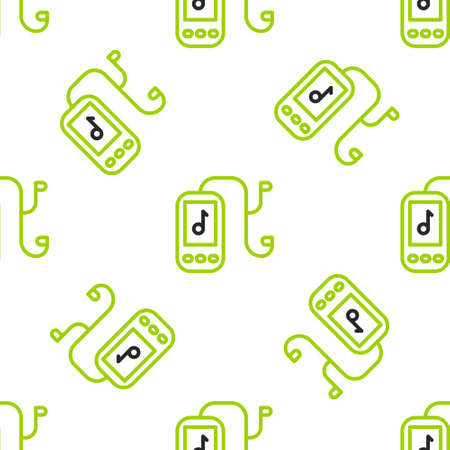 Line Music player icon isolated seamless pattern on white background. Portable music device. Vector Illustration