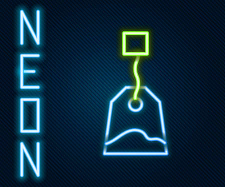 Glowing neon line Tea bag icon isolated on black background. Colorful outline concept. Vector Illustration