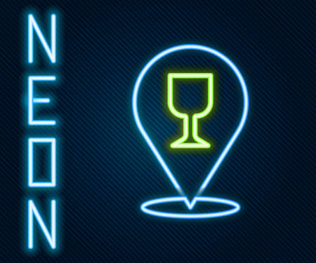 Glowing neon line Alcohol or beer bar location icon isolated on black background. Symbol of drinking, pub, club, bar. Colorful outline concept. Vector Illustration