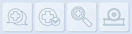 Set line Dialogue with the doctor, Magnifying glass for search medical, Cross hospital medical and Otolaryngological head reflector. White square button. Vector.