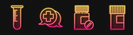Set line Medicine bottle and pills, Test tube and flask, Dialogue with the doctor and Medicine bottle. Glowing neon icon. Vector