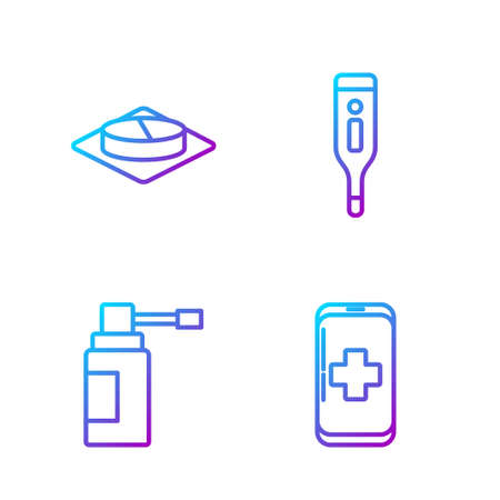 Set line Emergency mobile phone call to hospital, Medical bottle with nozzle spray, Medicine pill or tablet and Medical digital thermometer. Gradient color icons. Vector