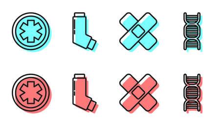 Set line Crossed bandage plaster, Medical symbol of the Emergency, Inhaler and DNA symbol icon. Vector