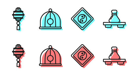 Set line Yin Yang, Chinese paper lantern, Chinese hat and Dumpling on cutting board icon. Vector