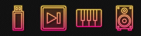 Set line Music synthesizer, USB flash drive, Fast forward and Stereo speaker. Glowing neon icon. Vector 向量圖像