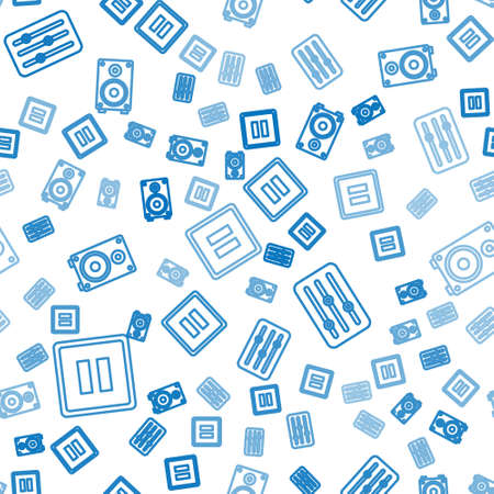 Set line Pause button, Sound mixer controller and Stereo speaker on seamless pattern. Vector