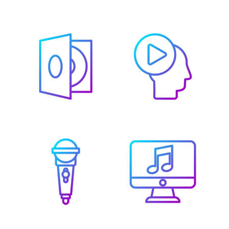 Set line Computer with music note, Microphone, Vinyl player with a vinyl disk and Head people with play button. Gradient color icons. Vector