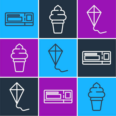 Set line Travel ticket, Kite and Ice cream in waffle cone icon. Vector Illustration