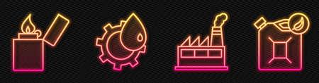 Set line Oil industrial factory building, Lighter, Oil industrial factory building and Bio fuel canister. Glowing neon icon. Vector