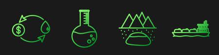 Set line Oilfield, Oil exchange, Oil petrol test tube and Oil tanker ship. Gradient color icons. Vector 일러스트