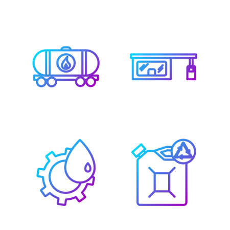 Set line Eco fuel canister, Oil industrial factory building, Oil railway cistern and Gas filling station. Gradient color icons. Vector
