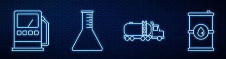 Set line Tanker truck, Petrol or gas station, Oil petrol test tube, Barrel oil and Oil industrial factory building. Glowing neon icon on brick wall. Vector