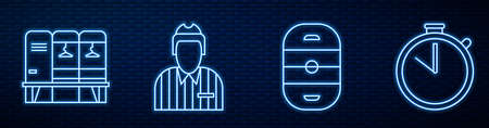 Set line Ice hockey rink, Locker or changing room, Hockey judge, referee, arbiter, Stopwatch and Whistle. Glowing neon icon on brick wall. Vector