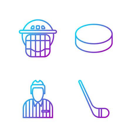 Set line Ice hockey stick, Hockey judge, referee, arbiter, Hockey helmet and Hockey puck. Gradient color icons. Vector