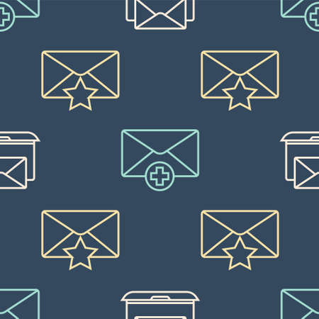 Set line Laptop with envelope, Envelope with star and Received message concept on seamless pattern. Vector