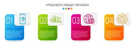 Set line Mobile phone with graph chart, Pie chart infographic, Earth globe with dollar and Human with gear inside. Business infographic template. Vector