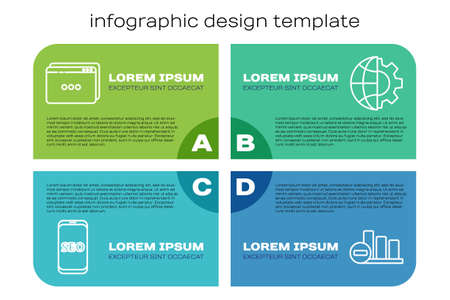Set line Mobile phone SEO optimization, Website template, Pie chart infographic and Globe of the Earth and gear. Business infographic template. Vector