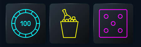 Set line Casino chips, Game dice and Champagne in an ice bucket. Black square button. Vector Ilustração