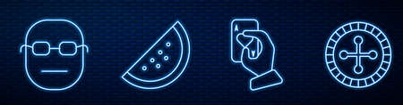 Set line Hand holding playing cards, Poker player, Casino slot machine with watermelon and Casino roulette wheel. Glowing neon icon on brick wall. Vector Ilustração