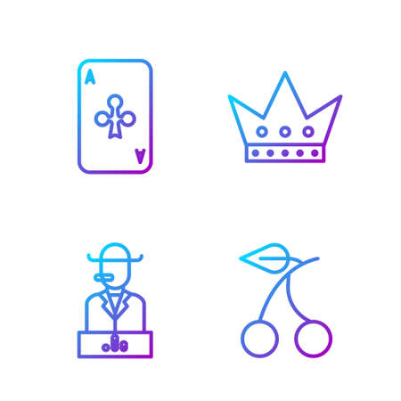 Set line Casino slot machine with cherry, Poker player, Playing card with clubs and King playing card. Gradient color icons. Vector