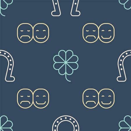 Set line Horseshoe, Poker player and Casino slot machine with clover on seamless pattern. Vector
