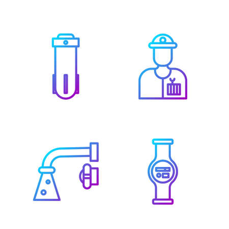 Set line Water meter, Water tap, Water filter and Plumber. Gradient color icons. Vector Ilustracja