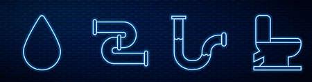 Set line Industry metallic pipe, Water drop, Industry metallic pipe and Toilet bowl. Glowing neon icon on brick wall. Vector