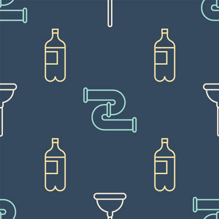 Set line Rubber plunger, Bottle of water and Industry metallic pipe on seamless pattern. Vector Ilustracja