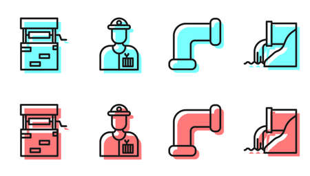 Set line Industry metallic pipe, Well, Plumber and Wastewater icon. Vector