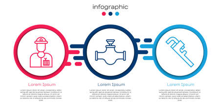 Set line Plumber, Industry pipe and valve and Pipe adjustable wrench. Business infographic template. Vector Ilustracja