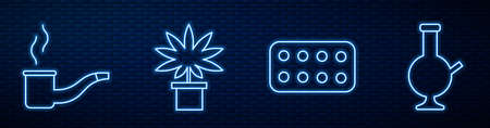 Set line Pills in blister pack, Smoking pipe, Marijuana or cannabis plant in pot and Glass bong for smoking marijuana. Glowing neon icon on brick wall. Vector