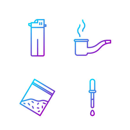 Set line Pipette, Plastic bag of drug, Lighter and Smoking pipe. Gradient color icons. Vector