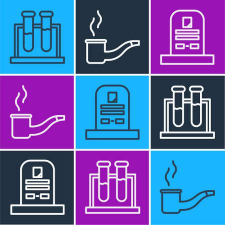 Set line Test tube and flask, Tombstone with RIP written and Smoking pipe icon. Vector