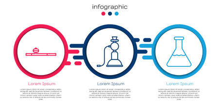 Set line Opium pipe, Hookah and Test tube and flask. Business infographic template. Vector