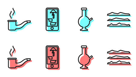 Set line Glass bong for smoking marijuana, Smoking pipe, Buying drugs online on phone and Cocaine or heroin drug icon. Vector