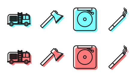 Set line Ringing alarm bell, Fire truck, Firefighter axe and Cigarette icon. Vector Vettoriali