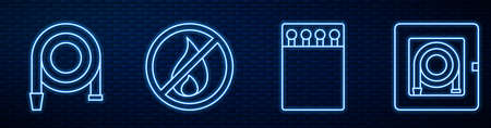 Set line Open matchbox and matches, Fire hose reel, No fire and Fire hose cabinet. Glowing neon icon on brick wall. Vector
