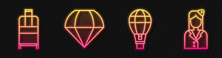 Set line Hot air balloon, Suitcase, Parachute and Stewardess. Glowing neon icon. Vector