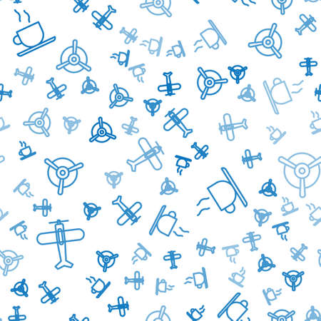 Set line Plane, Coffee cup and Plane propeller on seamless pattern. Vector